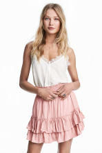 Frilled skirt with smocking - Light pink - Ladies | H&M CN 1