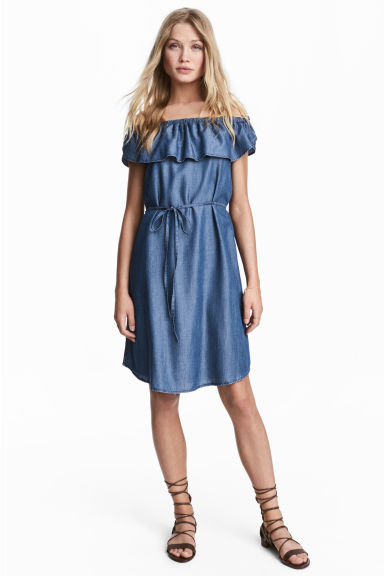 Lyocell off-the-shoulder dress - Denim blue - Ladies | H&M CN 1