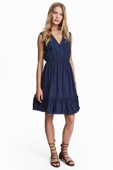 Jacquard-weave dress - Dark blue - Ladies | H&M