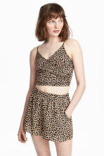 Short strappy wrap top - Leopard print - Ladies | H&M CN 1