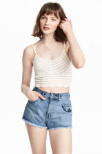 Crocheted top - White - Ladies | H&M 1