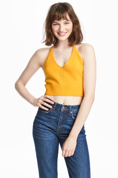 Knitted halterneck top - Mustard yellow - Ladies | H&M 1