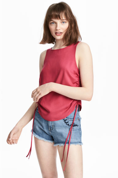 Sleeveless top - Raspberry red - Ladies | H&M CN 1