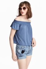 Off-the-shoulder top - Pigeon blue - Ladies | H&M 1