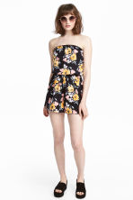 Strapless playsuit - Black/Floral - Ladies | H&M 1