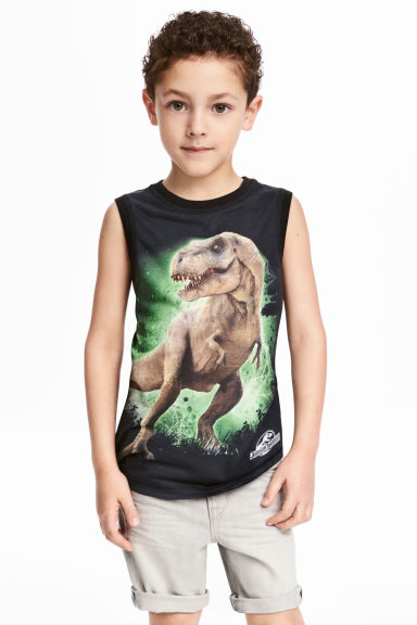 Printed vest top - Black/Jurassic World -  | H&M 1