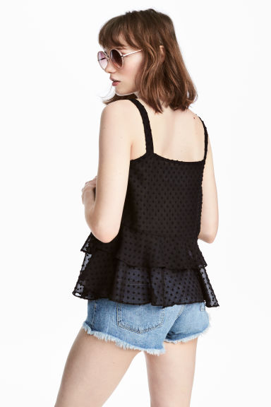 Flounced chiffon strappy top - Black - Ladies | H&M CA 1