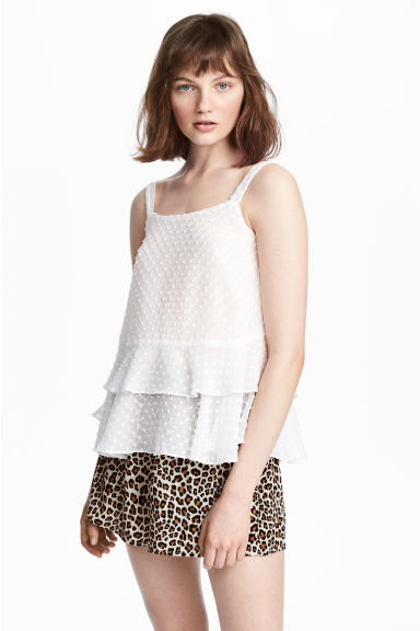 Flounced chiffon strappy top - White - Ladies | H&M