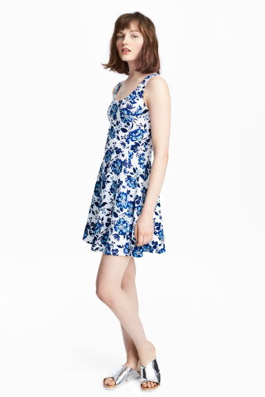 平紋洋裝 - White/Floral - Ladies | H&M 1