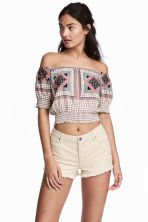 Off-the-shoulder top - Natural white/Patterned - Ladies | H&M CN 1
