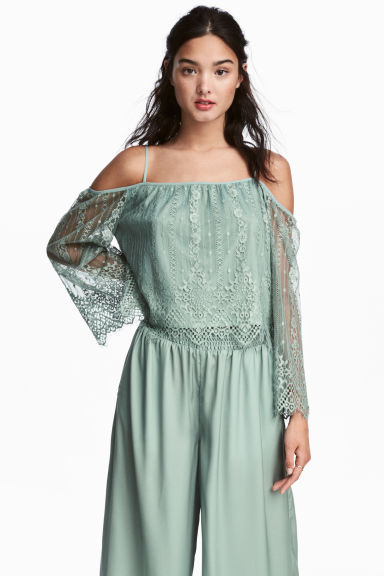 Lace off-the-shoulder blouse - Dusky green -  | H&M