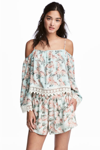 露肩女衫 - Mint green/Floral -  | H&M 1