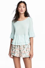 Flounced linen-blend top - Mint green - Ladies | H&M CA 1