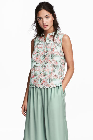Sleeveless blouse - Mint green/Floral - Ladies | H&M 1