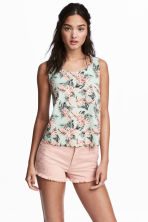 Vest top with scalloped edges - Mint green/Floral - Ladies | H&M 1