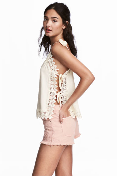 Strappy top with lace - Natural white - Ladies | H&M CN 1