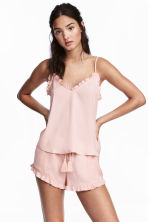 Satin strappy top - Powder pink - Ladies | H&M CN 1