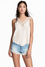 V-neck top - Natural white -  | H&M IE 1