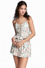 合身短版上衣 - Mint green/Floral - Ladies | H&M 1