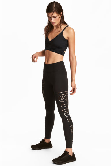 Sports tights - Black/Text -  | H&M 1