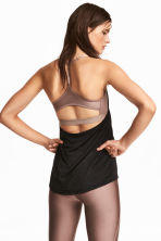 Sports top with sports bra - Black marl - Ladies | H&M 1