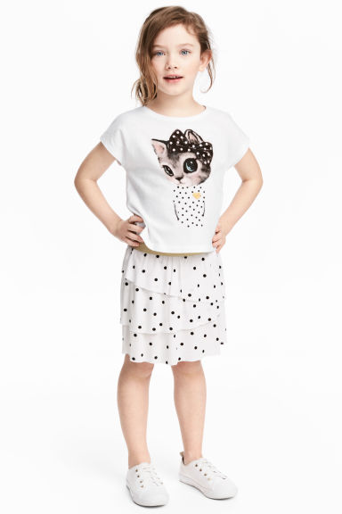 Top and skirt - White/Cat - Kids | H&M CN 1