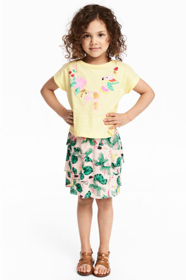 Top and skirt - Light yellow/Parrot -  | H&M CA 1