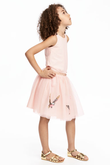Tulle skirt - Light pink/Birds - Kids | H&M