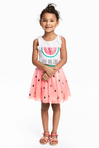 Tulle skirt - Pink/Watermelon - Kids | H&M CN 1