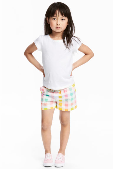 Jersey shorts - White/Checked -  | H&M CA 1