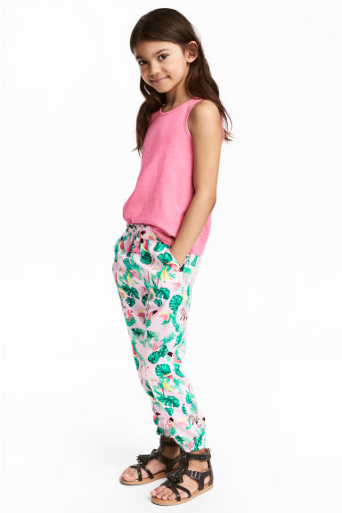 Patterned pull-on trousers - Light pink/Leaf - Kids | H&M