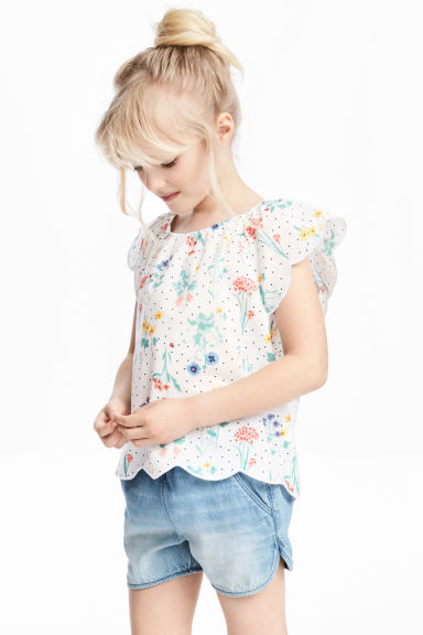 Blouse with butterfly sleeves - White/Floral - Kids | H&M 1