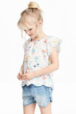 Blouse with butterfly sleeves - White/Floral - Kids | H&M CN 1