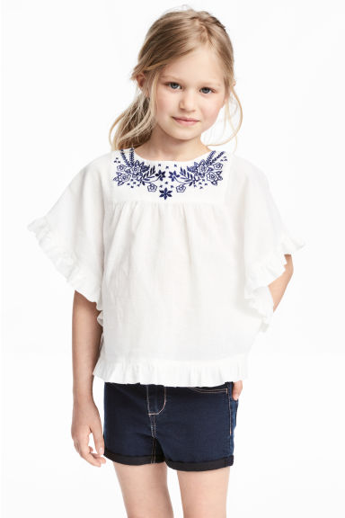 Embroidered blouse - White - Kids | H&M 1