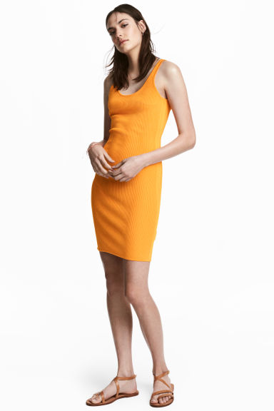 Ribbed dress - Orange - Ladies | H&M CN 1