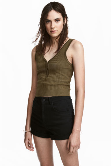 Pattern-knit top - Khaki green - Ladies | H&M 1