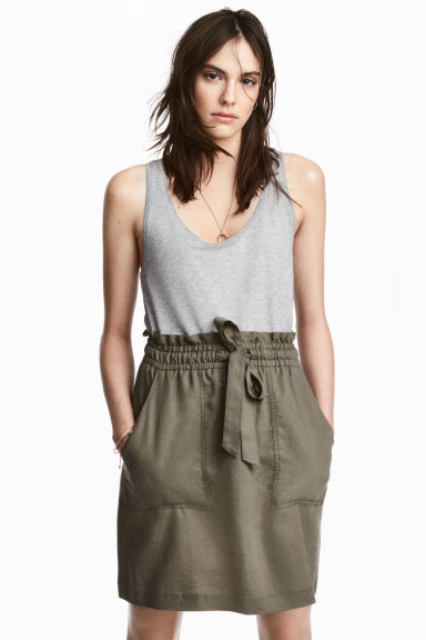 Lyocell-blend skirt - Khaki green - Ladies | H&M 1