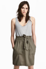 Lyocell-blend skirt - Khaki green - Ladies | H&M CN 1