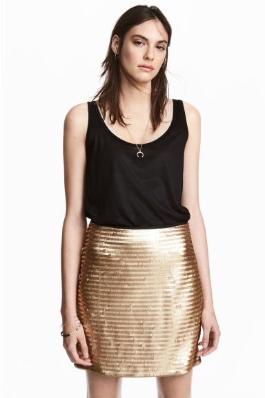 Short skirt - Gold - Ladies | H&M GB