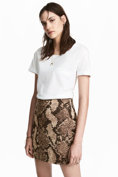 Short skirt - Snakeskin print - Ladies | H&M CN 1