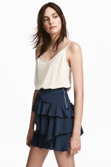 Linen strappy top - White - Ladies | H&M IE