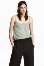 Linen strappy top - Dusky green - Ladies | H&M 1
