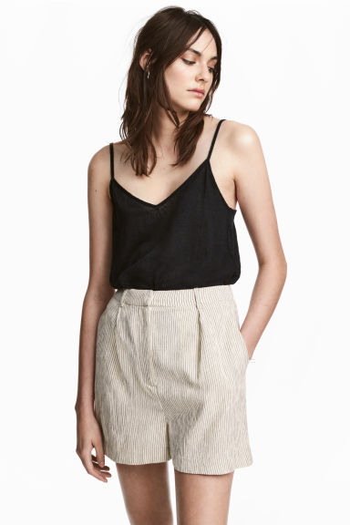 Linen strappy top - Black - Ladies | H&M CA 1