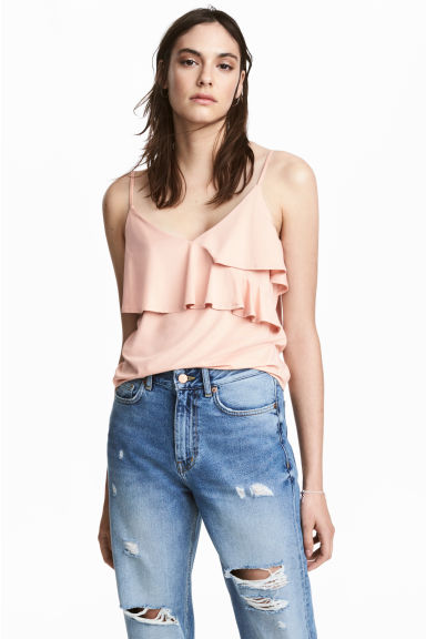 Flounced strappy top - Powder pink - Ladies | H&M CN 1