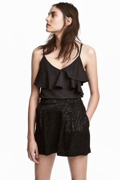 Flounced strappy top - Black - Ladies | H&M 1