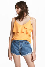 Flounced strappy top - Orange - Ladies | H&M 1