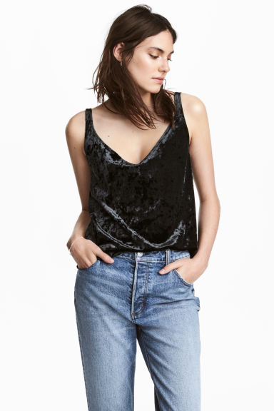 Crushed velvet strappy top - Black - Ladies | H&M 1
