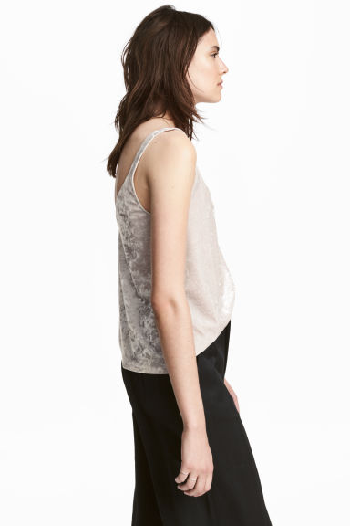 Crushed velvet strappy top - Light mole -  | H&M