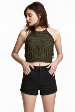 Ribbon-embroidered top - Dark khaki green - Ladies | H&M 1