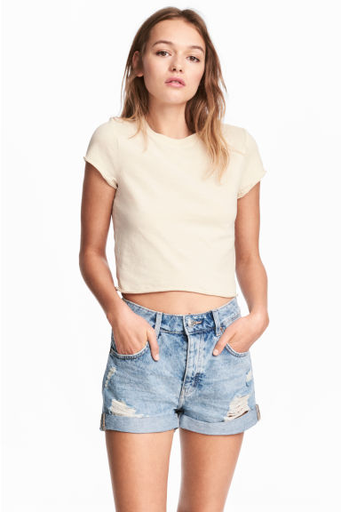Cropped T-shirt - Light beige - Ladies | H&M